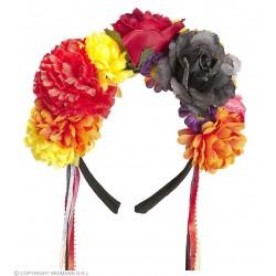 Στέκα με Μεγάλα Πολύχρωμα Λουλούδια και κορδέλες