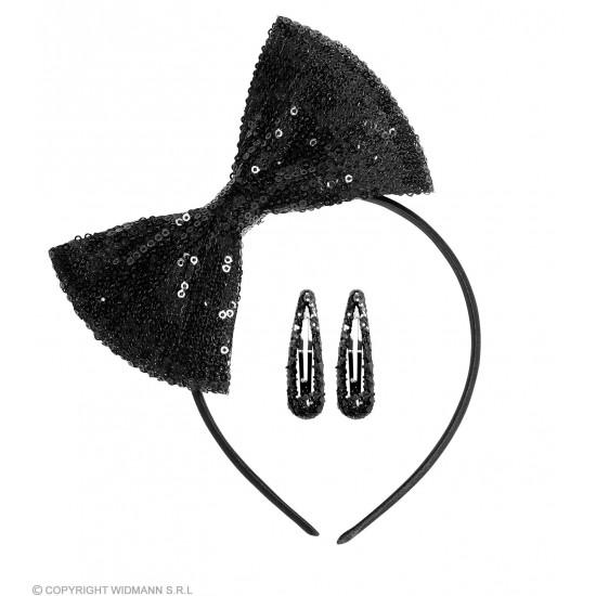 Σετ Στέκα Φιόγκος με μαύρες παγιέτες και clips μαλλιών