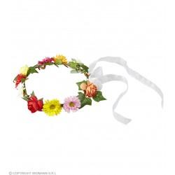 Στεφάνι με Χρωματιστά Λουλούδια και Λευκές Κορδέλες