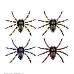 Σετ από 4 χρωματιστές Αράχνες neon 7,5cm