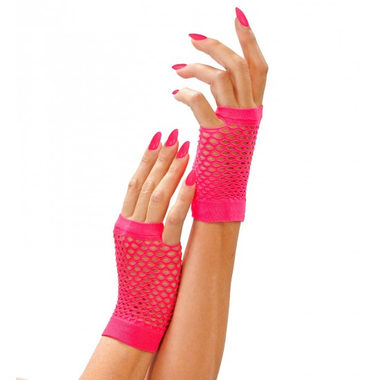 Γάντια Νέον Ροζ χωρίς δάχτυλα διχτυωτά W14895