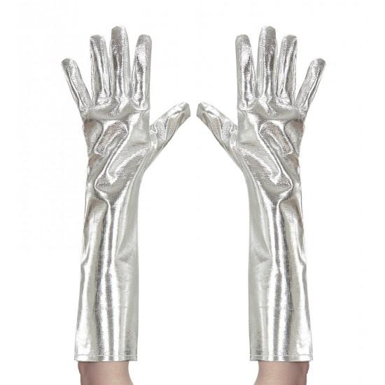 Γάντια Ασημί Μεταλικό χρώμα 40cm W34241