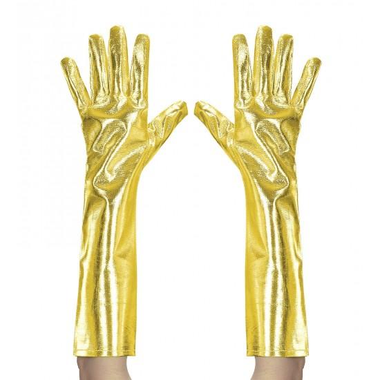 Γάντια Χρυσά Μεταλικό χρώμα 40cm W34242