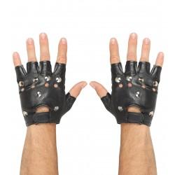 Γάντια Punk Δερματίνη κομμένα με καρφιά W46903