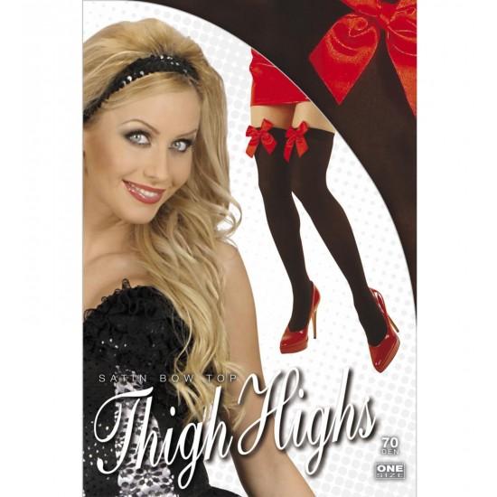 Κάλτσες Μαύρες με Κόκκινο φιόγκο