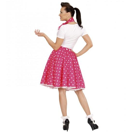 Σετ 50s Φούστα Ροζ με Άσπρα πουά και φουλάρι