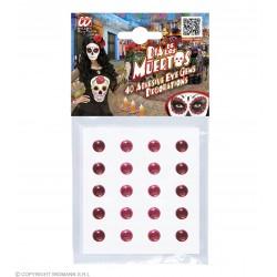 Σετ 40 Αυτοκόλλητες Χάντρες Κόκκινες-Ροζ