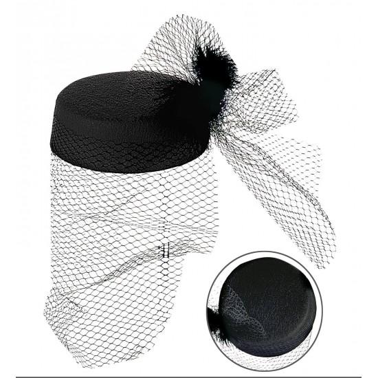 Καπέλο Χήρας με Πούπουλα και Βέλο