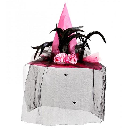 Καπέλο Μάγισσας Ροζ με Βέλο και Φτερά