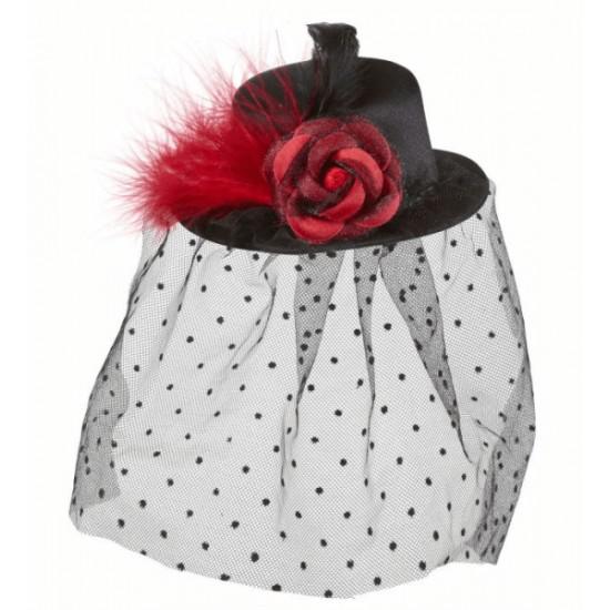 Καπέλο Κόκκινο Τριαντάφυλλο και Βέλο Mini