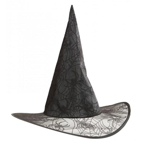 Καπέλο Μάγισσας Μαύρο με Ιστό Αράχνης