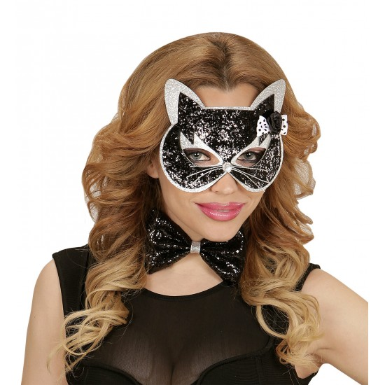 Σετ Μάσκα Γάτας Παπιγιόν με ασημί glitter