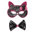 Σετ Μάσκα Γάτας Παπιγιόν Ροζ με ασημί glitter