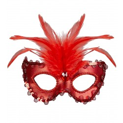 Μάσκα Ματιών Κόκκινη Σατέν με φτερά