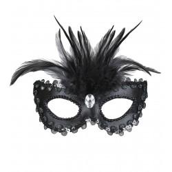 Μάσκα Ματιών Μαύρη Σατέν με φτερά
