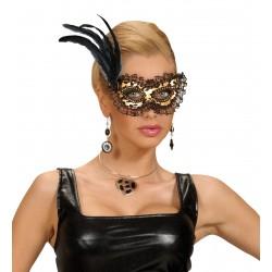 Μάσκα Ματιών Χρυσή με μαύρη δαντέλα τριαντάφυλλο και φτερά