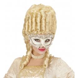 Μάσκα Ματιών Μπαρόκ λευκή ανάγλυφη με στρας