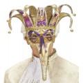 Μάσκα Ματιών Βενετσιάνικη Delux με μακριά μύτη και κουδούνια