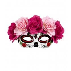 Μάσκα Ματιών Dia De Los Muertos με φουξ ροζ τριαντάφυλλα