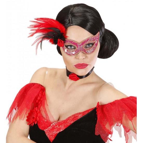 Μάσκα Ματιών Ροζ με τριαντάφυλλο και φτερά