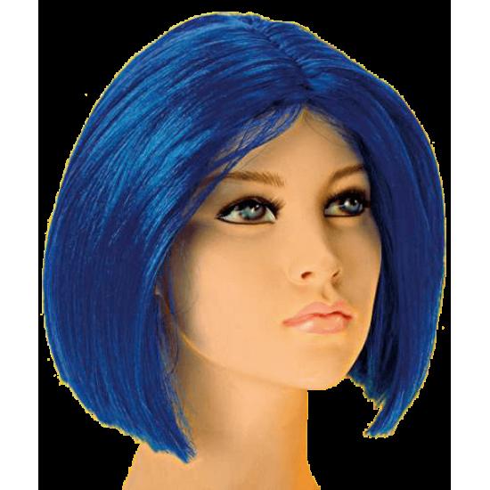 Περούκα Μπλε Κοντό Καρέ Χωρίς Φράντζα