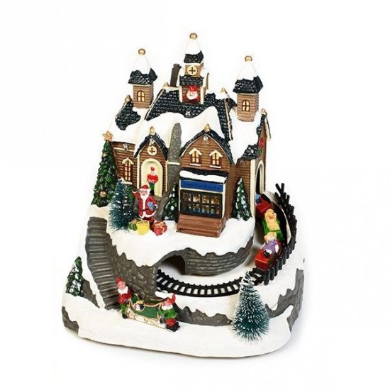 Χριστουγεννιάτικο Εργοστάσιο Παιχνιδιών φως μουσική κίνηση 22x19cm