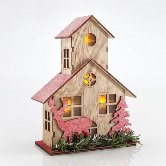 Εκκλησάκι επιτραπεζιο ξύλινο με φως 17x8x21.5cm