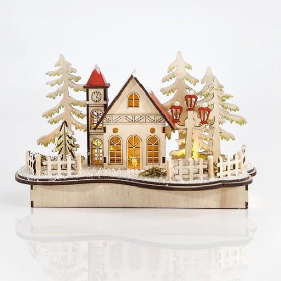 Χριστουγεννιάτικο ξύλινο χωριό με φως 25x12x16cm