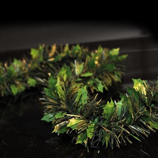 Πράσινη Τρέσα με φύλλα Γκι Φ9cm 2m