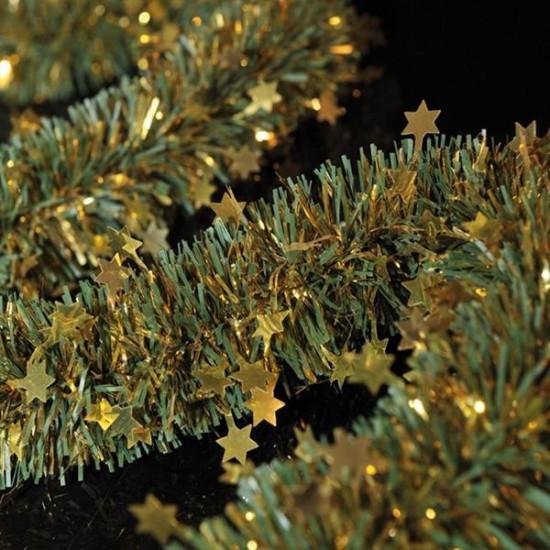 Πράσινη Τρέσα με χρυσά αστεράκια Φ9cm 2m