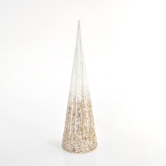 Δέντρο Κώνος με σαμπανί λευκό glitter νήμα 14X50cm