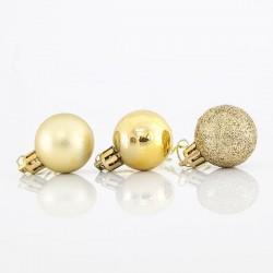 Μπάλα πλαστική χρυσή set 24 τεμ mix 3cm