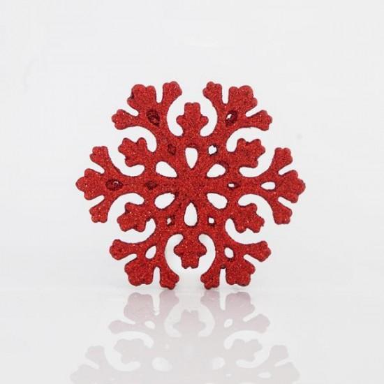 Χιονονιφάδα πλαστική κόκκινη glitter 11cm set 5 τεμ