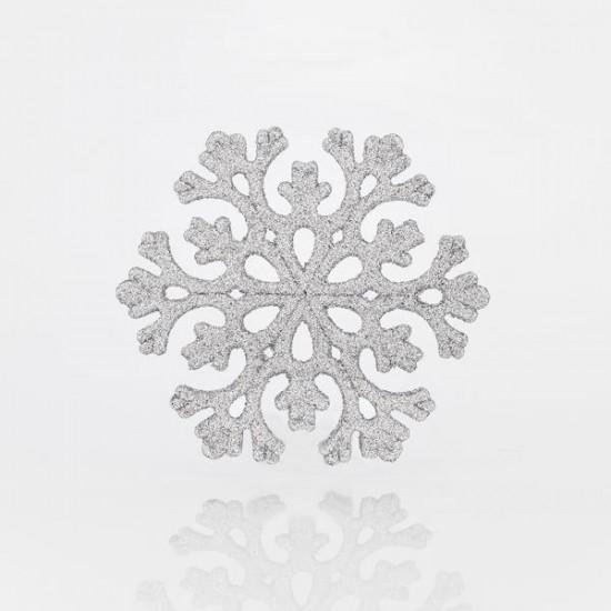 Χιονονιφάδα πλαστική ασημί glitter 11cm set 5 τεμ