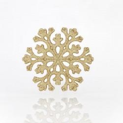 Χιονονιφάδα πλαστική χρυσή glitter 11cm set 5 τεμ