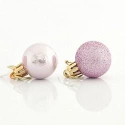 Μπάλα πλαστική ροζ set 27 τεμ (9 περλέ & 18 glitter) 3cm