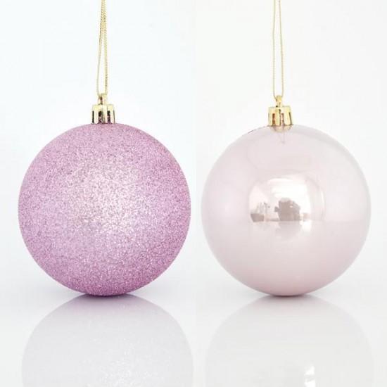 Μπάλα πλαστική ροζ set 6 τεμ (2 περλέ & 4 glitter) 8cm