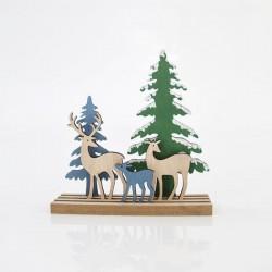 Διακοσμητικό ξύλινο με οικογένεια ταράνδων 19X9X20cm