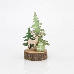 Επιτραπέζιο ξύλινο διακοσμητικό με έλατα και τάρανδο 7.5x7.5x15.5cm
