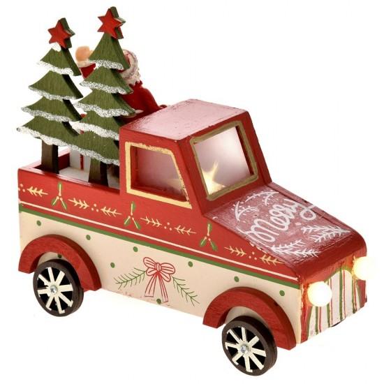 Χριστουγεννιάτικο Αυτοκίνητο ξύλινο με φώς 15X6X13cm