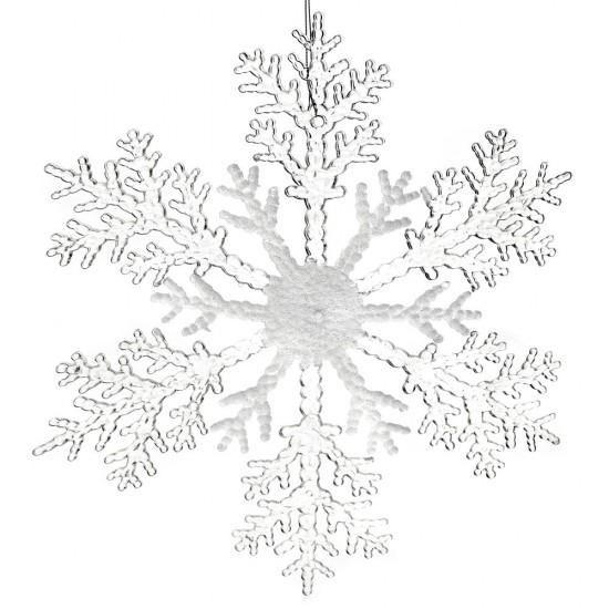 Νιφάδα ακρυλική λευκή-διάφανη κρεμαστή 20cm