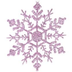 Νιφάδα ροζ με glitter 12cm