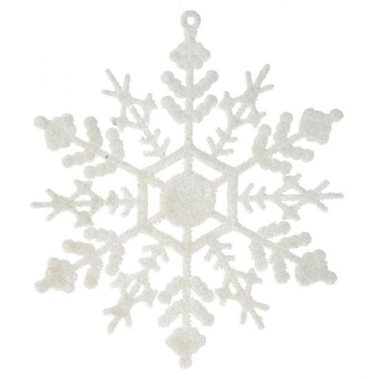 Νιφάδα λευκή με glitter 12cm