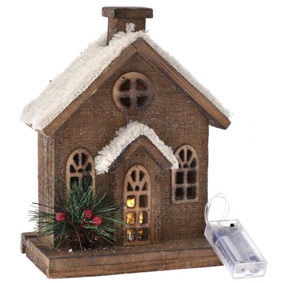 Σπίτι χιονισμένο xmas ξύλινο 20x12x27cm με φως