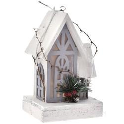 Σπίτι χιονισμένο xmas ξύλινο 16x13x26cm με φως