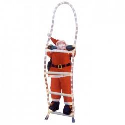 Άγιος Βασίλης σε σκάλα φωτοσωλήνα 150cm Άγιος 38cm