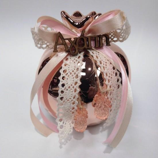 Γούρι Ρόδι ροζέ με διακόσμηση 12cm