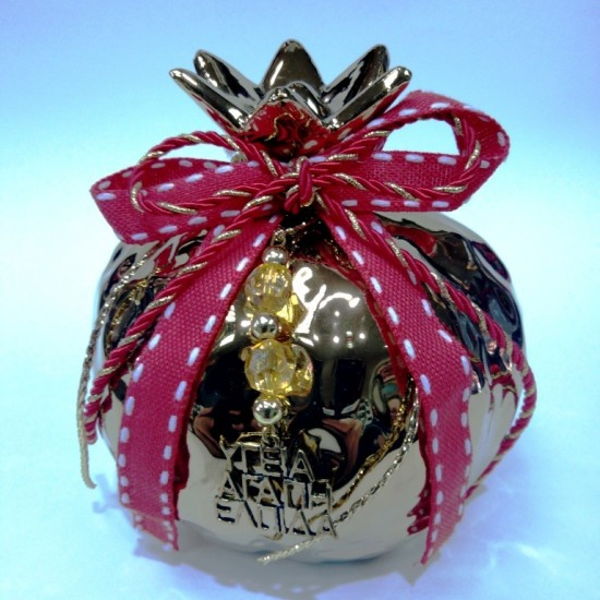 Γούρι Ρόδι χρυσό με διακόσμηση 12cm