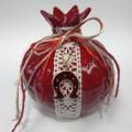 Γούρι Ρόδι κόκκινο με διακόσμηση 12cm