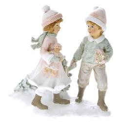 Ζευγάρι Αγόρι Κορίτσι Πολυρεζίν 13x12cm